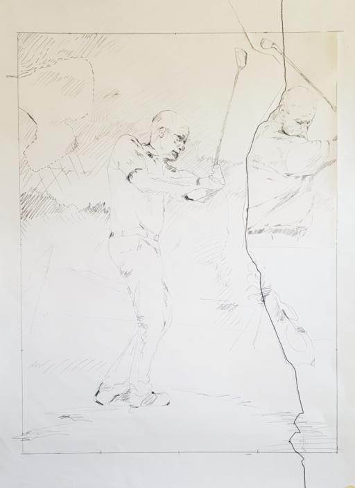 Golfer (Uwe) - Bleistiftzeichnung