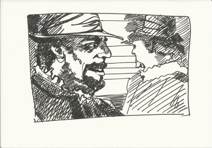 Wallenstein Postkarte-3 Edelmann im Gespräch