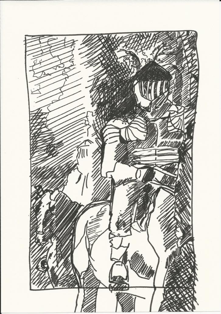Wallenstein Postkarte-4 Reiter in Rüstung