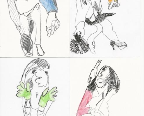 Collage Zeichnung (4 Farben)