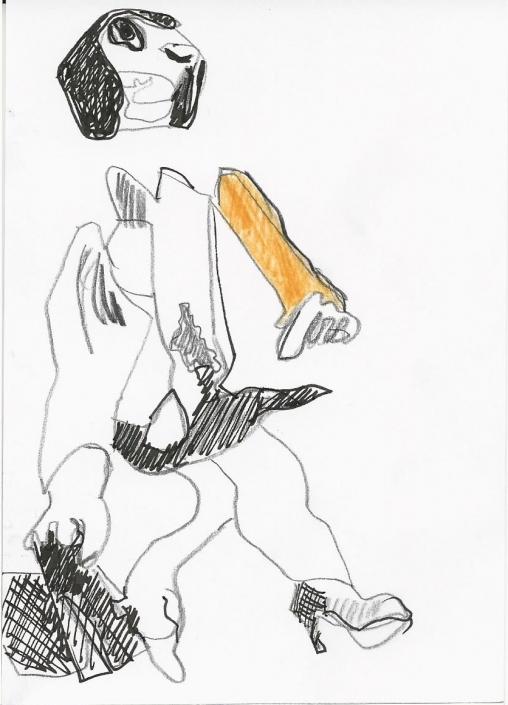 Collage Zeichnung Orange