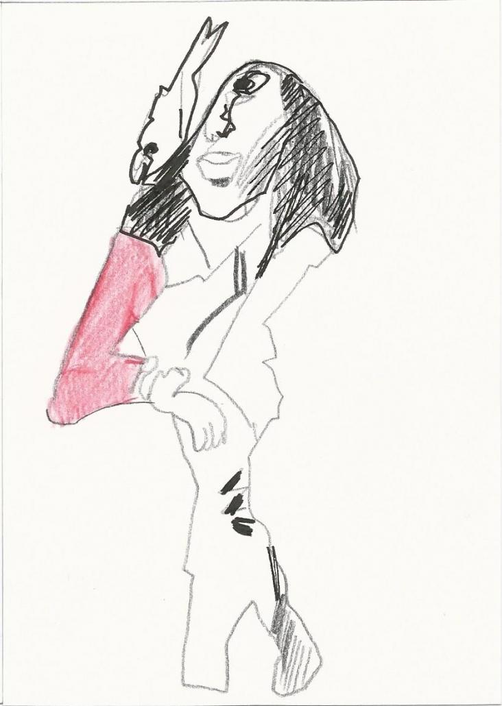 Collage Zeichnung Rot