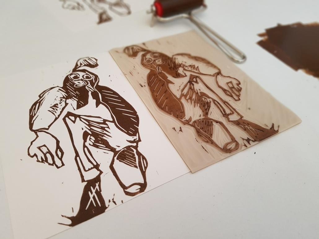Druck Unproportional Postkarte mit Druckstock