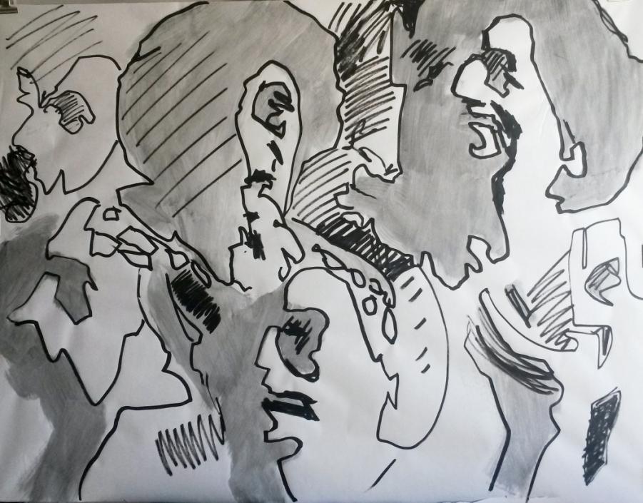 Löwinnen Zeichnung