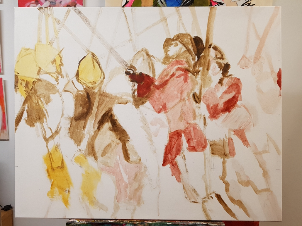 Pikeniere Gemälde in Arbeit 1